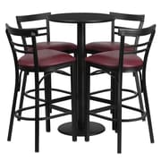 Offex 24'' Round Black Laminate Table Set with 4 Ladder Back Metal Barstools, Burgundy Vinyl Seat (OF-RSRB1037-GG)