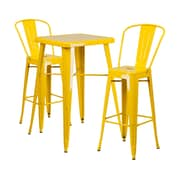 Offex 23.75'' Square Yellow Metal Indoor-Outdoor Bar Table Set with 2 Stools with Backs (OF-311B-2-31-YL)