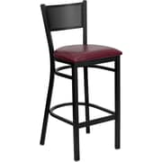 Offex Black Grid Back Metal Restaurant Barstool, Burgundy Vinyl Seat (XU-DGRD-BAR-B)