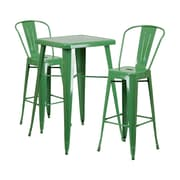 Offex 23.75'' Square Green Metal Indoor-Outdoor Bar Table Set with 2 Stools with Backs (OF-311B-2-30GBN)