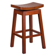 Offex 30'' High Saddle Seat Light Cherry Wood Barstool with Auto Swivel Seat Return (OF-R-SLE-LC-1-G)