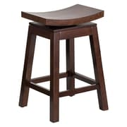 Offex 26'' High Saddle Seat Cappuccino Wood Counter Height Stool with Auto Swivel Seat Return (OF-R-SADDLE-2-G)