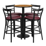 Offex 24'' Round Natural Laminate Table Set with 4 Ladder Back Metal Barstools, Burgundy Vinyl Seat (OF-RSRB1039-GG)
