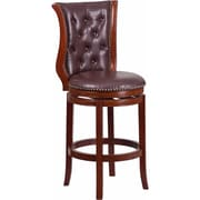 Offex 30'' High Dark Chestnut Wood Barstool with Hepatic Leather Swivel Seat (OF-R-230-DC-G)