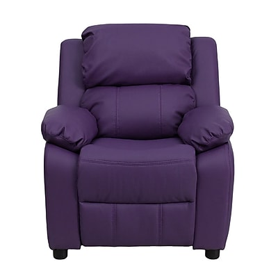 Offex Deluxe Padded Contemporary Purple Vinyl Kids Recliner with Storage Arms (OF-7985-K-P-G) 24302066
