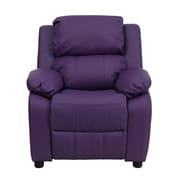 Offex Deluxe Padded Contemporary Purple Vinyl Kids Recliner with Storage Arms (OF-7985-K-P-G)