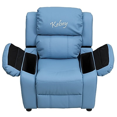 Offex Personalized Deluxe Padded Light Blue Vinyl Kids Recliner with Storage Arms (OF-9-K-LTBL--G) 24302994