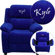 Offex Personalized Deluxe Padded Blue Microfiber Kids Recliner with Storage Arms (OF-9-K-V-BL--G)