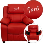 Offex Personalized Deluxe Padded Red Vinyl Kids Recliner with Storage Arms (OF-9-K-RD--G)