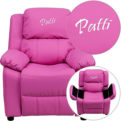 Offex Personalized Deluxe Padded Hot Pink Vinyl Kids Recliner with Storage Arms (OF-9-K-HOT-PK-G) 24303002