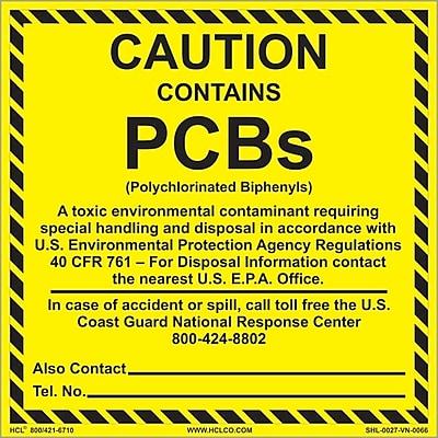 HCL Contains PCB's, Caution Label, 4