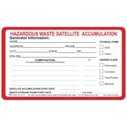 "HCL Hazardous Waste Satellite Accumulation, Waste Storage Label 3"" x 5"" (SHL00380007)"