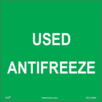 HCL Used Antifreeze, Waste Storage Label, 6