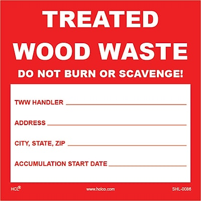 HCL Treated Wood Waste, Waste Storage Label (SHL00860044)