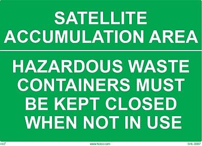 HCL Satellite Accumulation Area, Waste Sign (SHL00870002)