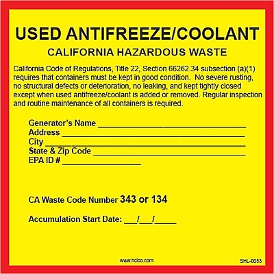 HCL California Used Antifreeze, Pre-Printed Hazardous Waste Label (SHL0083006625)