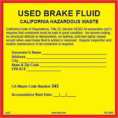 HCL California Used Brake Fluid, Pre-Pinted Hazardous Waste Label (SHL00820066)