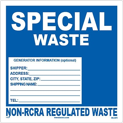 HCL Special Waste, Non-RCRA Regulated Waste Label (SHL00730002)