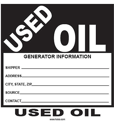 HCL Used Oil, Generator & Storage Label (SHL00670044)
