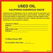 "HCL California Used Oil, Pre-Printed Hazardous Waste Label, 6"" x 6"" (SHL0066006625)"