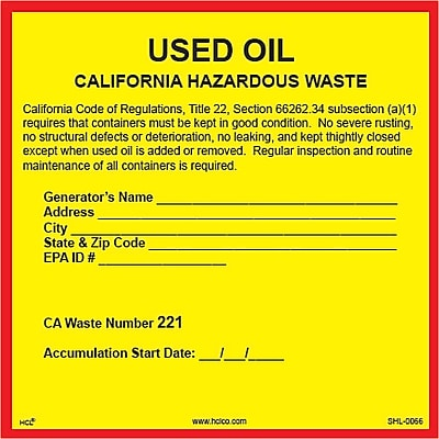 HCL California Used Oil, Pre-Printed Hazardous Waste Label (SHL00660066)