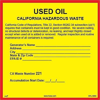 HCL California Used Oil, Pre-Printed Hazardous Waste Label, 6