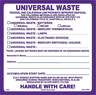HCL Universal Waste, Batteries Waste Label (SHL00650044)