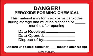 HCL Peroxide Forming Chemical, Danger Label, 3