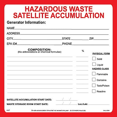HCL Hazardous Waste Satellite Accumulation, Waste Storage Label, 6