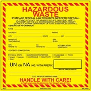 "HCL Hazardous Waste Label, Storage & Identification 6"" x 6"" (SHL0002006625)"