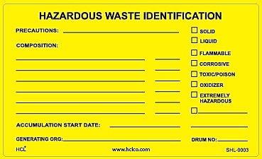HCL Hazardous Waste Identification, Waste Storage Label 3