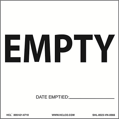 HCL Empty with Date Emptied, Waste Storage Label, 6