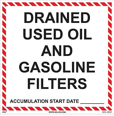 HCL Drained Used Oil & Gasoline Filters, Waste Label (SHL0022006625)