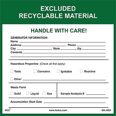 HCL Excluded Recyclable Material, ERM Label (SHL0004006625)