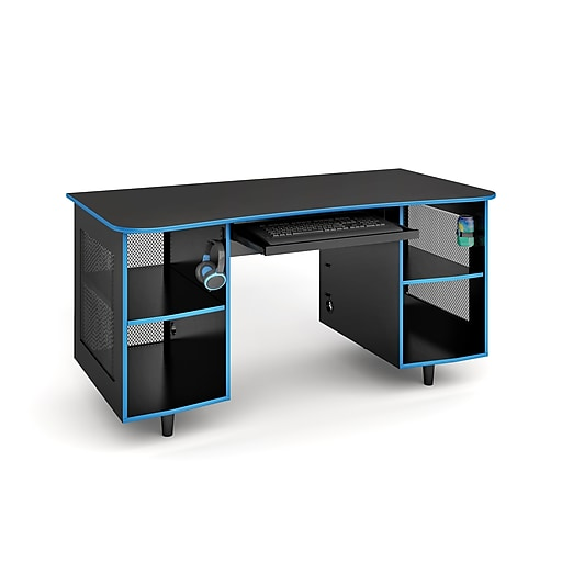 Staples Emergent Gaming Desk Black Spus Egdb Staples