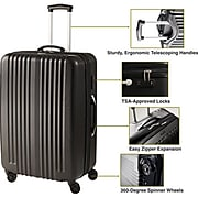 Staples® ABS 3 Piece Luggage Set, Black (45165)
