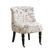 Monarch Specialties Vintage French Cotton and Linen Fabric Accent Chair, Beige/Black (I 8173)