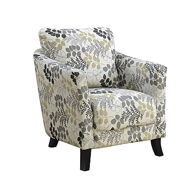 Monarch Specialties Earth Tone Floral Accent Chair Beigegrey I