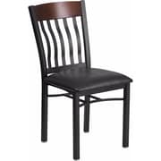 Offex Eclipse Series Vertical Back Black Metal and Walnut Restaurant Chair with Black Vinyl Seat (OF-S-E-J-W-V)