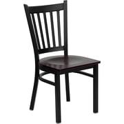 Offex Hercules Series Black Vertical Back Metal Restaurant Chair, Mahogany Wood Seat (OF-S-E-K-V-T-M)