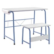 Offex Project Center, Kids Craft Table with Bench - Blue/Spatter Gray (OF-55126)