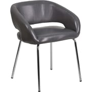 Offex Fusion Series Contemporary Gray Leather Side Reception Chair (OF-162731-G-G)