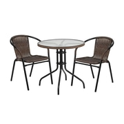 Offex 28'' Round Glass Metal Table with Brown Rattan Edging and 2 Rattan Stack Chairs (OF-L-F-037BN2-G)