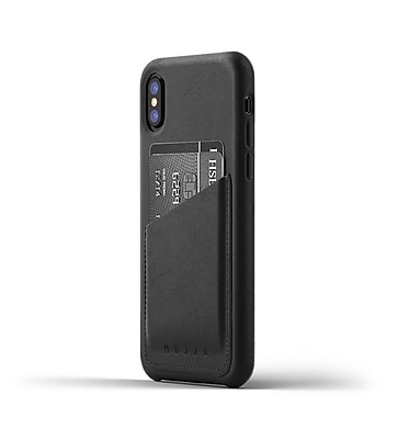 Mujjo Full Leather Wallet Case for iPhone X, Black (MUJJO-CS-092-BK)