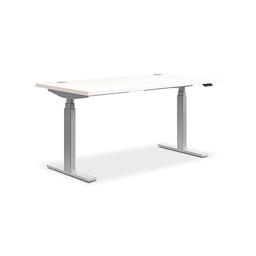 save off b1ad9 1c2ef HON Coordinate Height-Adjustable Desk, White Laminate, 60