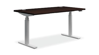 HON Coordinate Height-Adjustable Table, Mahogany Laminate, 60