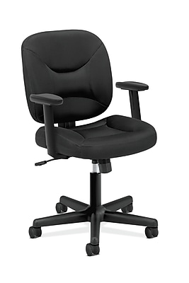 HON ValuTask Low-Back Task Chair, Center-Tilt, Height-Adjustable Arms, Black Sandwich Mesh NEXT2018 NEXTExpress