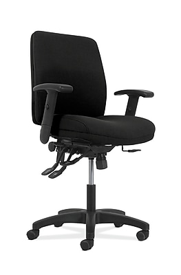 HON Fabric Task Chair with Asynchronous Control, Width/Height Adjustable Arms, Black (HONVL282A2VA10T)