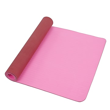 Sunny Health & Fitness Yoga Mat Extra Wide and Length 30  x 72 , Non-slip lightweight TPE Pink, 6mm thickness,Size: large