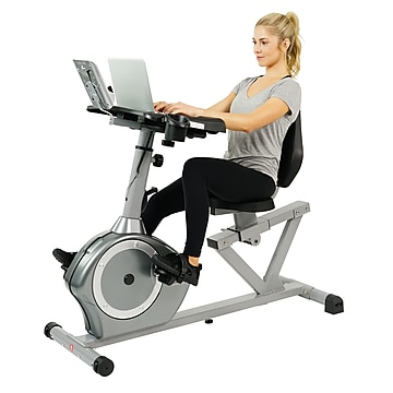 Sunny Health & Fitness Magnetic Recumbent Desk Exercise Bike, 350lb High Weight Capacity, Monitor - SF-RBD4703,Size: large